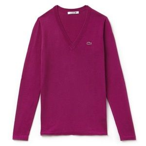 LACOSTE Womens Magenta V Neck Sweater Size S